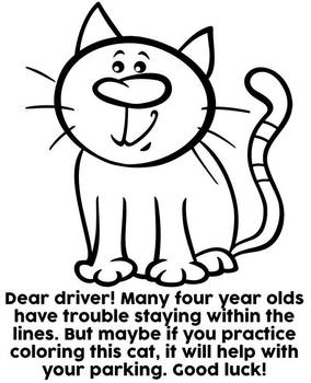 Dear driver bad parking coloring page