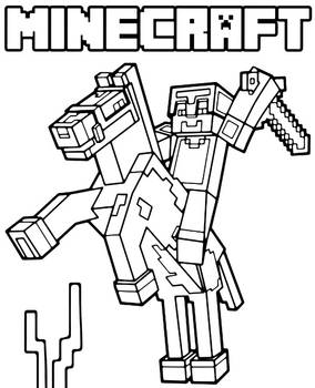 Minecraft coloring page with logo and horse