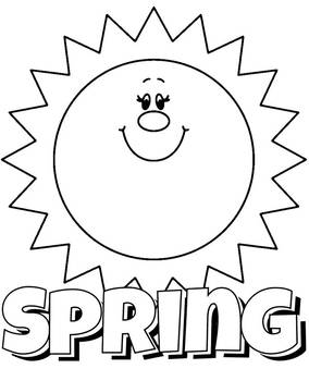 Spring logo with sun coloring page