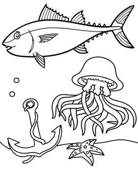 Tuna and jellyfish coloring page