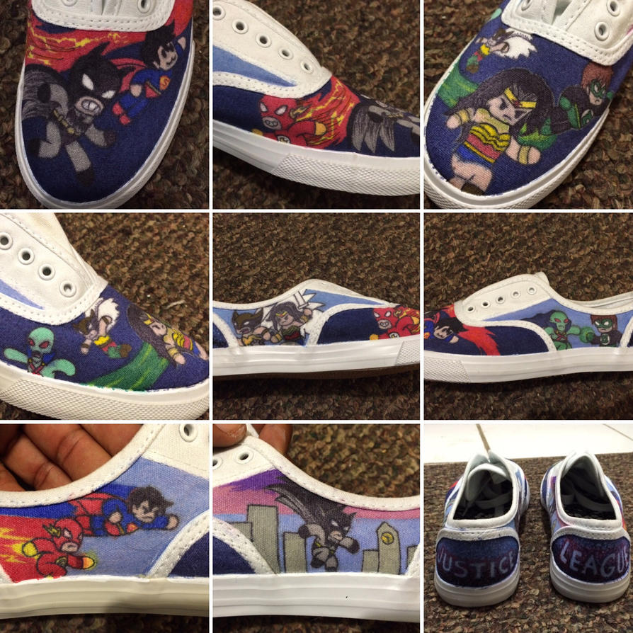 Justice League Custom Low Tops by atomiksprout