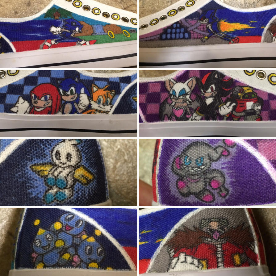 Custom Sonic the Hedgehog Canvas Shoes by atomiksprout