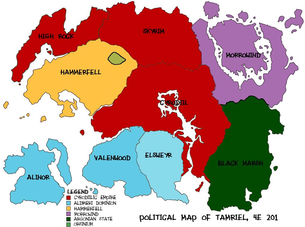 Political Map of Tamriel, 4E 201 by kawashima on DeviantArt
