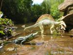 Spinosaurus and Crocodile.