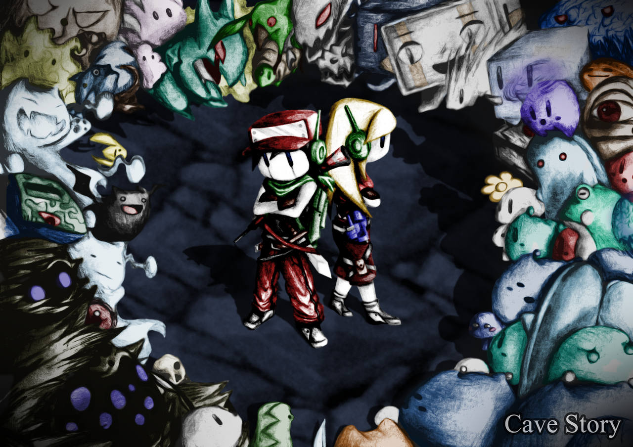 old cave story wallpaper colored by watermeloons on