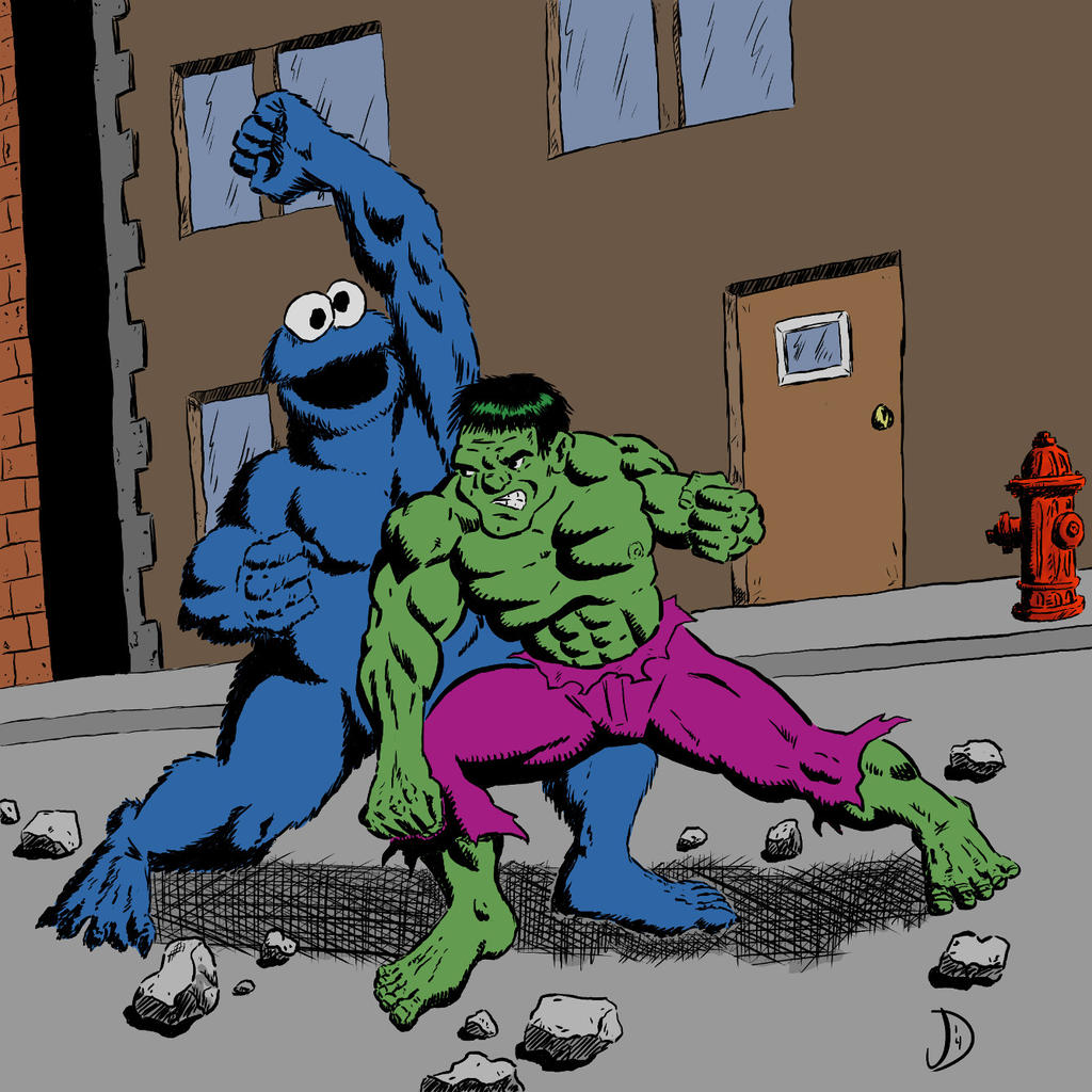 Hulk Vs Cookie Monster Finished Colors by jpd74 on DeviantArt