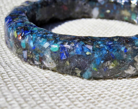 Blue Composite Gemstone Resin Bangle by merrypranxter