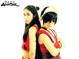 Katara y Toph version fuego by Piyoko-Shannaro