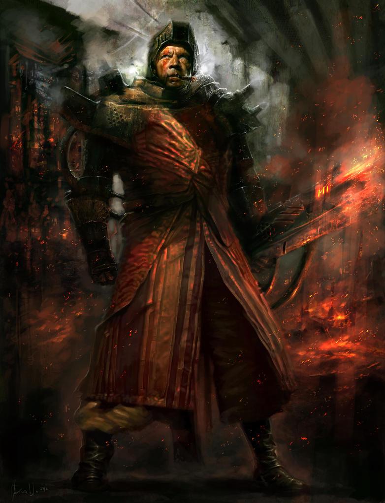 Character concept : Pyromancer Soldier by PabloFernandezArtwrk