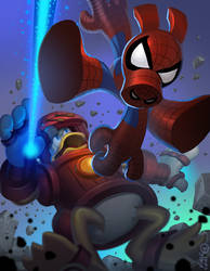 Spiderham vs Iron Duck by kidchuckle