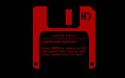 MS-DOS Software Anti-Piracy Warning