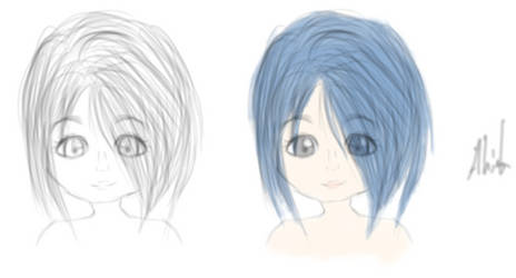 Drawing - Girl (First time drawing with Graphic T. by AylinK