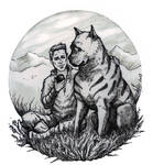 Alistair with mabari by yuhime