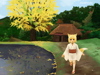 The big ginkgo tree and the fox girl