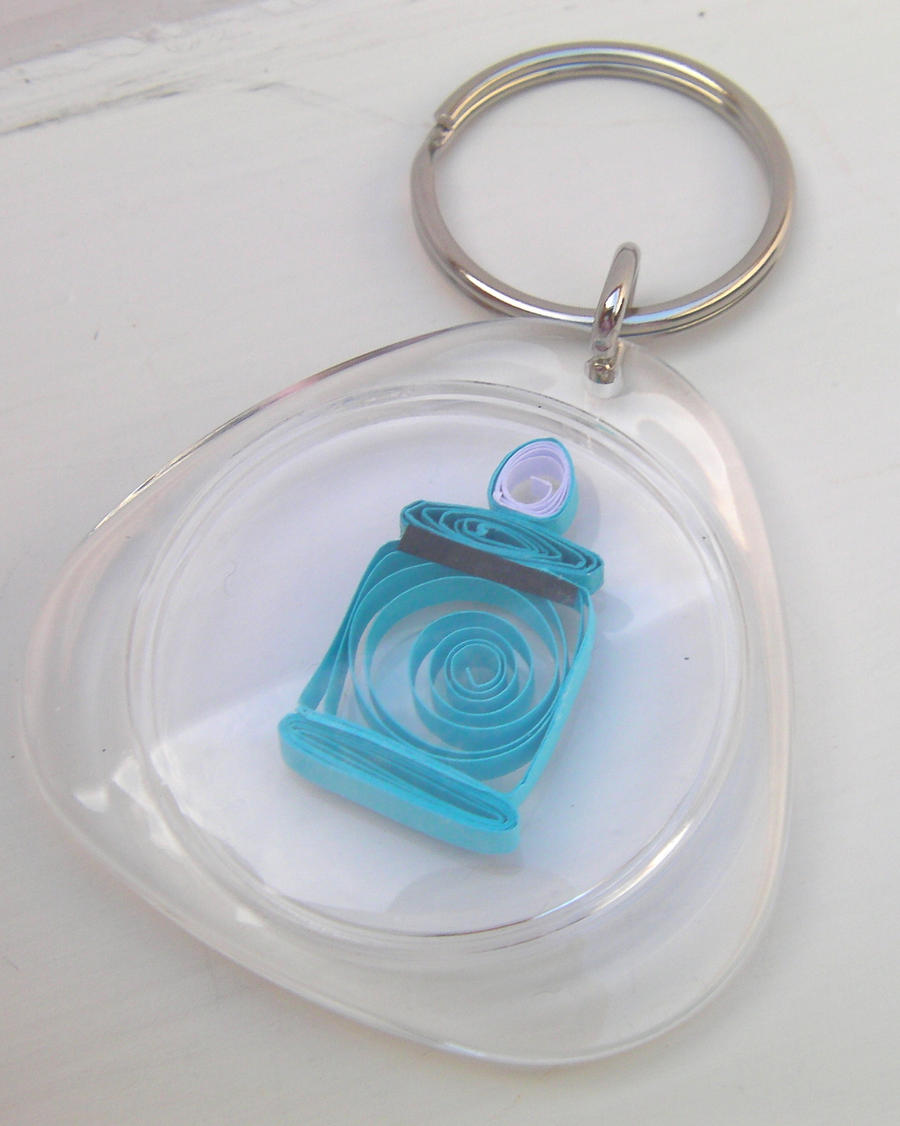 Cute Paper Quilled Tardis Key Chain No. 2 by cunningcatcrafts