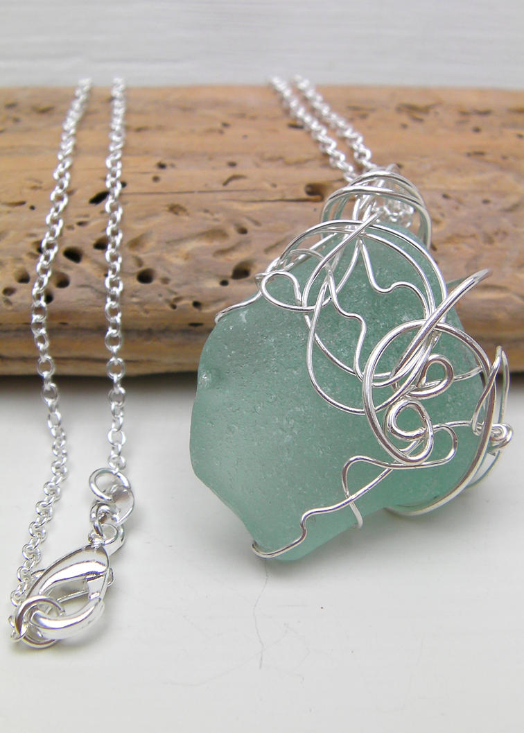 Swirling Waves Wire Wrapped Sea Glass Necklace By