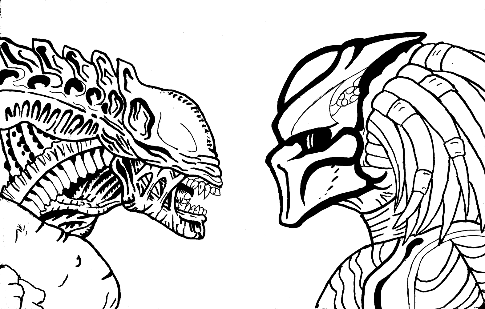 aliens vs predator drawings wwwimgkidcom the image