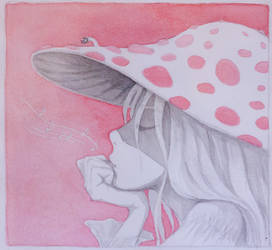 The girl in a mushroom hat
