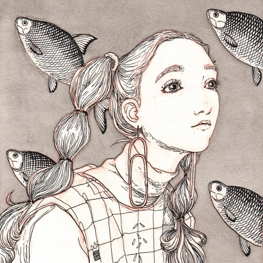 girl and fish by t-a-t-k-a