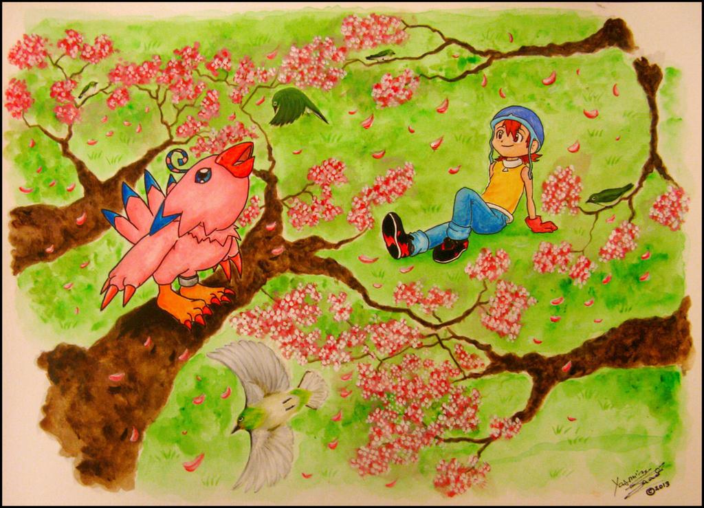 Sora and Piyomon by LiberumEqua