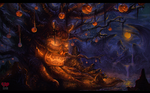 the dread tree! halloween environment painting