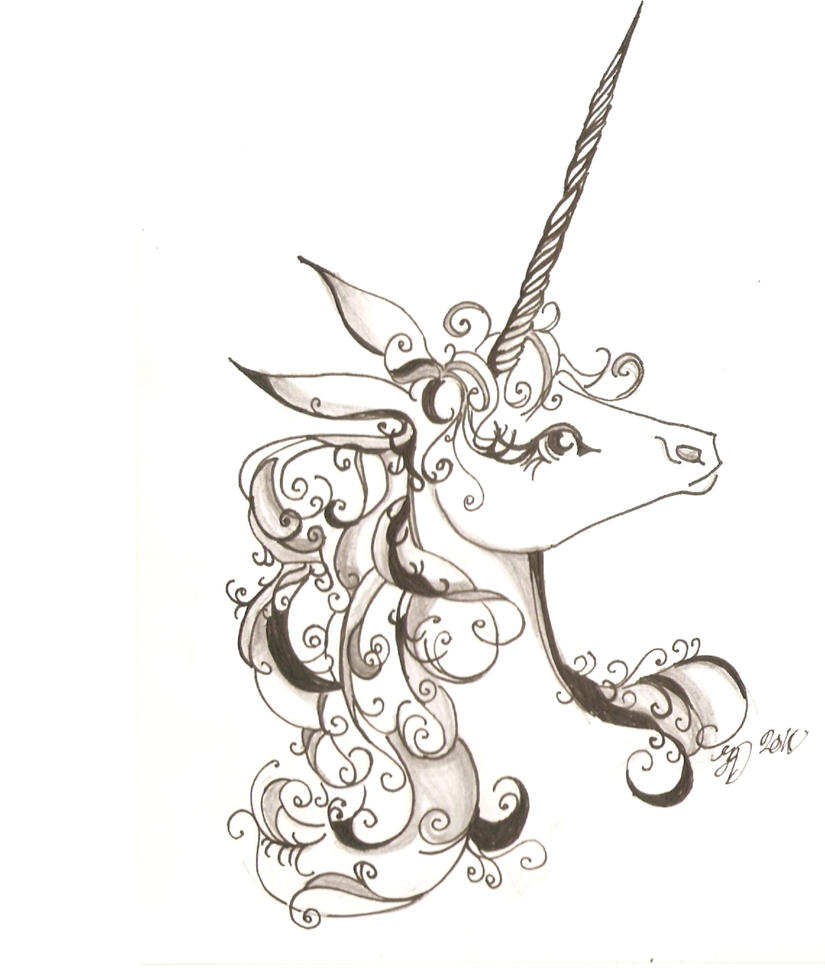 unicorn clipart black and white - photo #22
