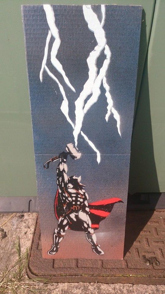 Thor Stencil On Cardboard by DMSpray