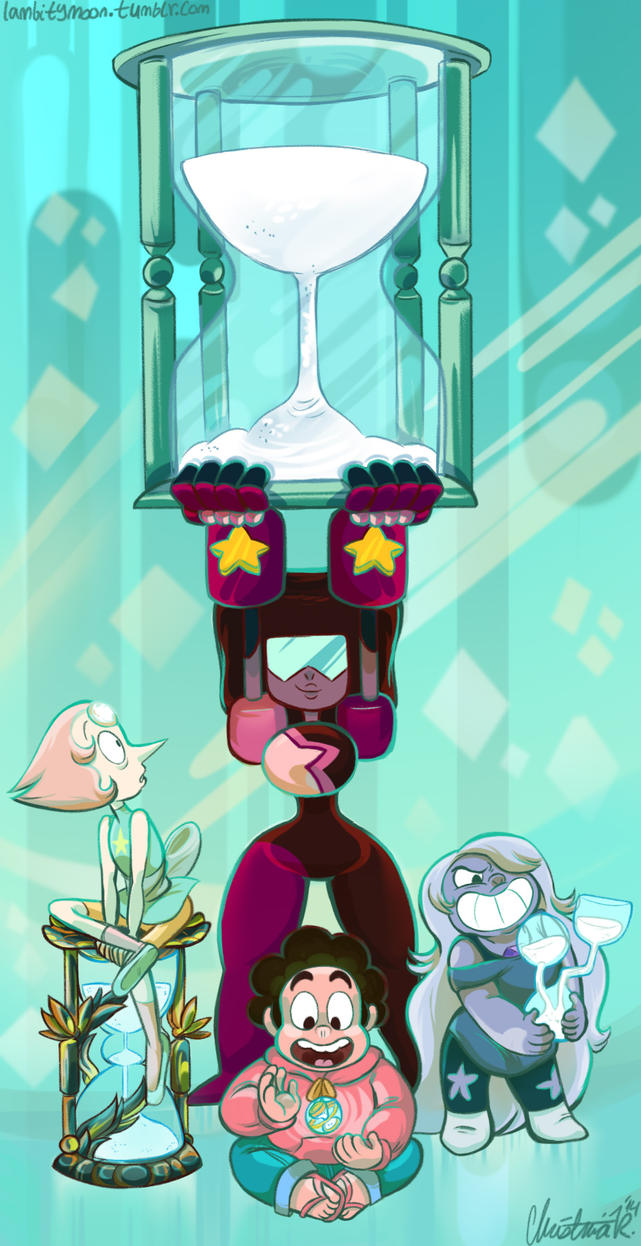 "FREAKING FINISHED WITH THIS FINALLY HOLY WOW! a@ It's the Crystal Gems with their favorite hourglasses from ""Steven and the Stevens"". If the temple wasn't destroyed, I'd think Garnet and Pearl woul..."