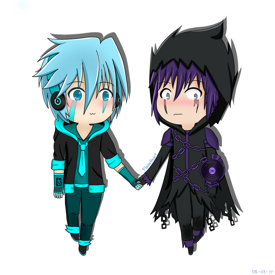 Cyko x Phantom [Chibi] by FlameHeartxx