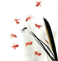 nine goldfish by kenglye