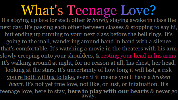 Long Quotes About Teenage Love : Teenage Love by CuteKitten31 on DeviantArt