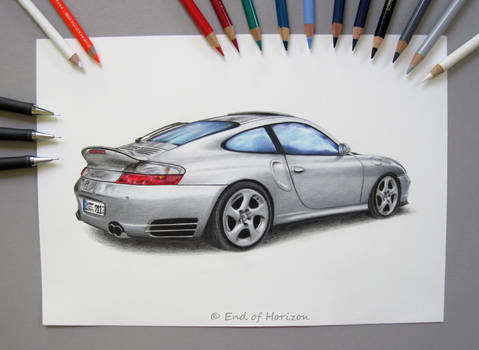 Porsche 911 Turbo silver (drawing)