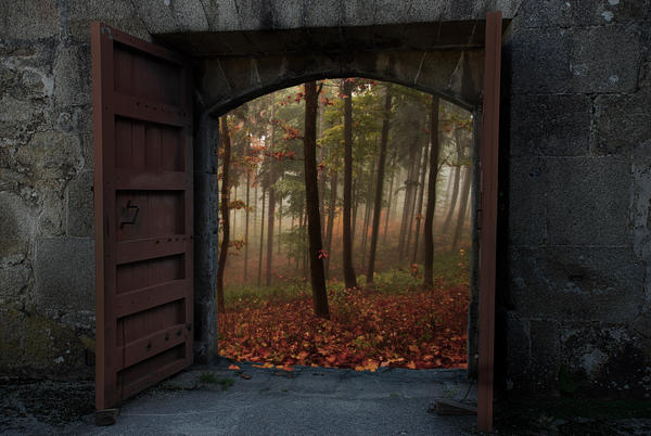 Premade - Autumn Gate BG by Tebh-stock