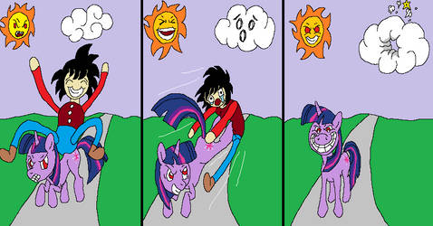 THE CHAOS THAT OCCURED WHEN GOKU FOUND A PONY!!!!! by Sylph-Alice