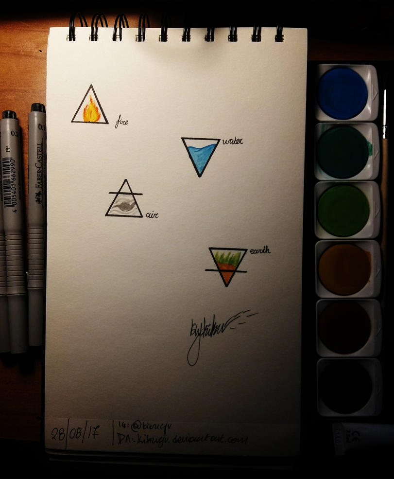 the four elements tattoo design watercolors by kikucjv on deviantart. Black Bedroom Furniture Sets. Home Design Ideas