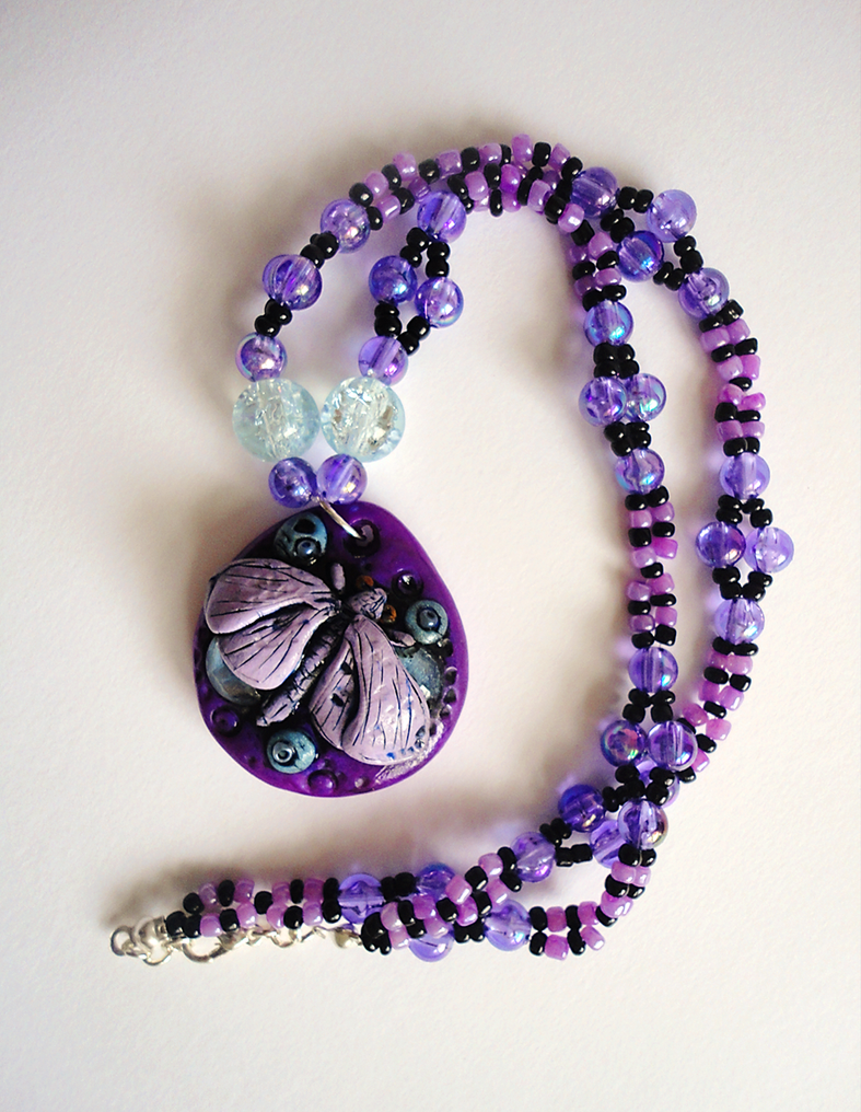 Purple Moth Necklace by Lucky101212