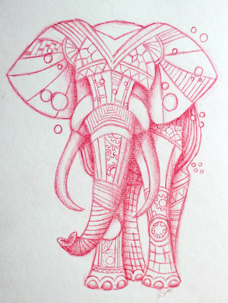 Elephant Line Drawing Tattoo : Steampunk elephant tattoo design by lucky on deviantart