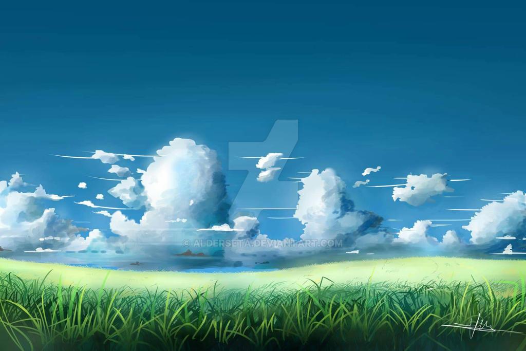 Shinkai background practice by Alderseta