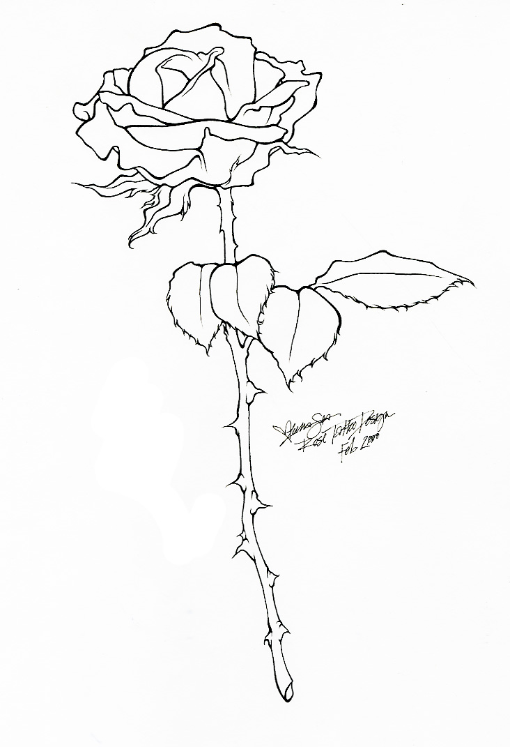 Line Drawing Of A Rose : Rose tattoo line art by bloodyluna on deviantart