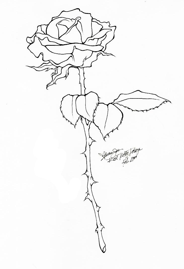Rose Tattoo - Line Art by BloodyLuna
