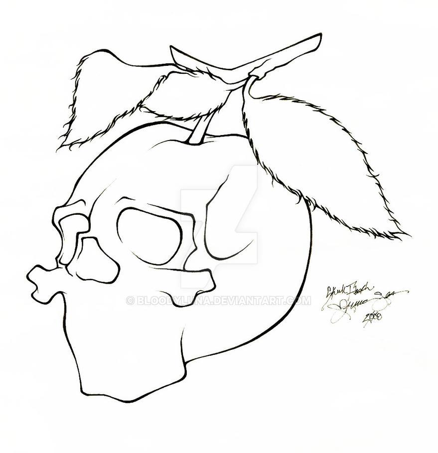 Line Work Art : Skull peach tattoo line work by bloodyluna on deviantart