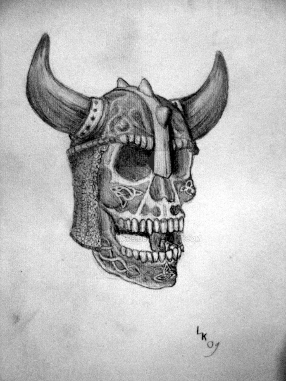 viking skullhead tattoo desing by lizardlars on DeviantArt