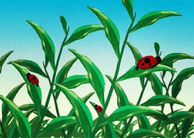 Digital Watercolor - Ladybugs on Grass