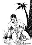 Jungle Boy Approaching (bw)