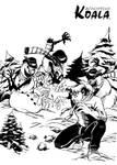 Wandering Koala fights Evil Snowmen (bw)