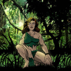 A Jungle Girl on the Hunt