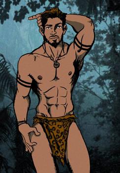 Jungle Man Walking At Night