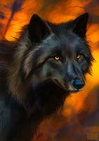 Round brush challenge wolf by Lhuin