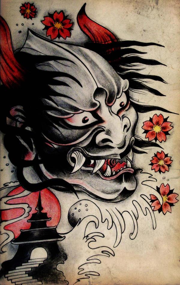 japanese demon tattoo design by blacksilence92 on deviantart. Black Bedroom Furniture Sets. Home Design Ideas