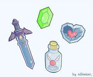 Zelda Items by ellenent